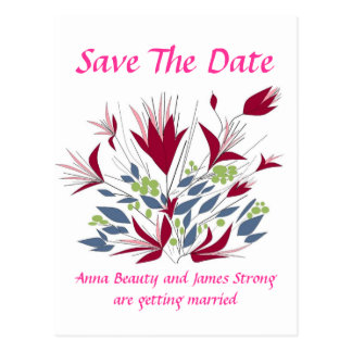 Ahorre la fecha, aerosol bonito de flores tarjeta postal