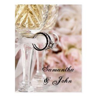 Ahorre la fecha - anillos de bodas tarjeta postal