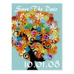 Ahorre la fecha - árbol de la flor postales