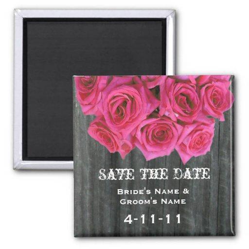 Ahorre la fecha - Barnwood y los rosas de las rosa Imán De Nevera