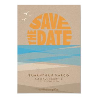 """Ahorre la fecha, boda de playa invitación 5"""" x 7"""""""