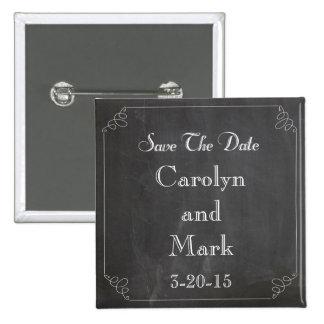 Ahorre la fecha, boda rústico del vintage de la pin cuadrada 5 cm