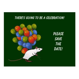 AHORRE LA FECHA: Celebración: Ratón con los globos Tarjetas Postales
