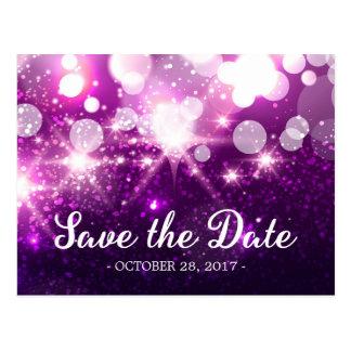 Ahorre la fecha - chispas púrpuras de moda del postales