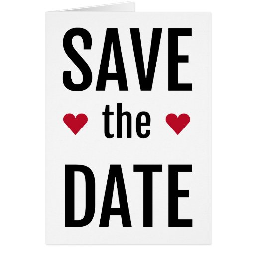 ahorre la fecha con dos corazones rojos tarjeta de felicitación