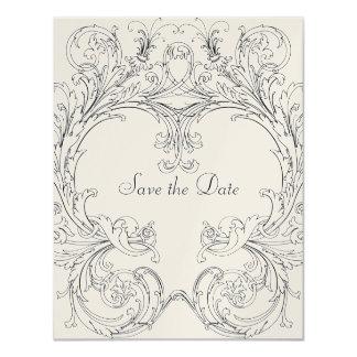 Ahorre la fecha con el marco barroco invitación 10,8 x 13,9 cm