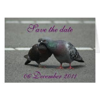 ahorre la fecha con las palomas tarjeta de felicitación