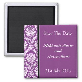 Ahorre la fecha - damasco clásico púrpura oscuro imán cuadrado