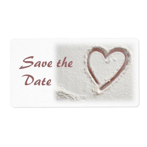 Ahorre la fecha/el corazón de la arena etiqueta de envío