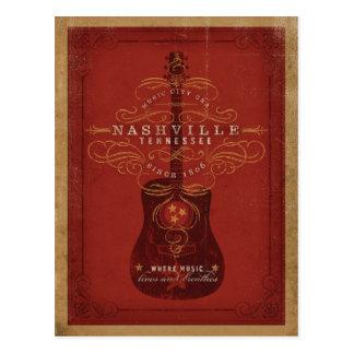 Ahorre la fecha el | Nashville, TN - guitarra roja Tarjeta Postal