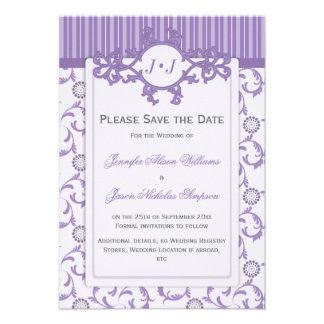 Ahorre la fecha en lavanda con el modelo adornado invitacion personalizada