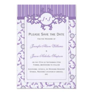 Ahorre la fecha en lavanda con el modelo adornado invitación 8,9 x 12,7 cm