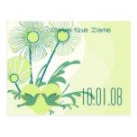 Ahorre la fecha enrrollada y las flores de la cal  tarjeta postal
