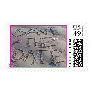 Ahorre la fecha escrita en franqueo de la arena sello