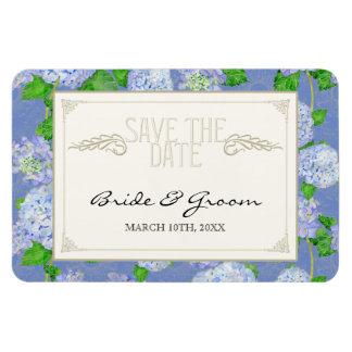 Ahorre la fecha formal floral del cordón azul del imanes rectangulares