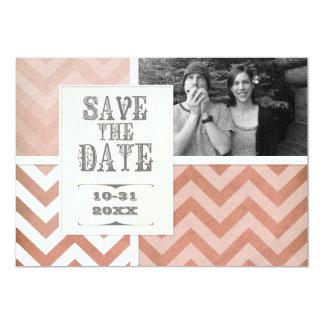 Ahorre la fecha - foto del zigzag de la raya de invitación personalizada