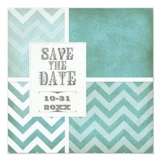 """Ahorre la fecha - foto del zigzag de la raya de invitación 5.25"""" x 5.25"""""""