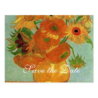 ahorre la fecha, girasoles de Van Gogh Postal