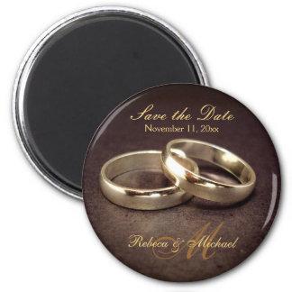 Ahorre la fecha - imanes de la alianza de boda del imán redondo 5 cm