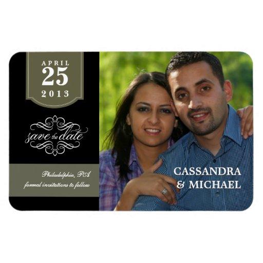 Ahorre la fecha - invitación de encargo del boda d imanes rectangulares