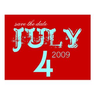 Ahorre la fecha - julio - modificada para tarjetas postales