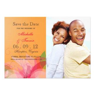 Ahorre la fecha - la foto floral abstracta invita comunicados personalizados