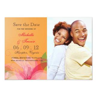 """Ahorre la fecha - la foto floral abstracta invita invitación 5"""" x 7"""""""