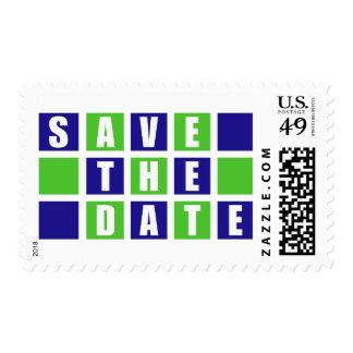 Ahorre la fecha (las cajas cuadradas del azul/de franqueo