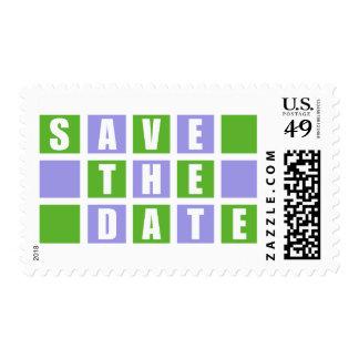 Ahorre la fecha (las cajas cuadradas púrpuras/del envio