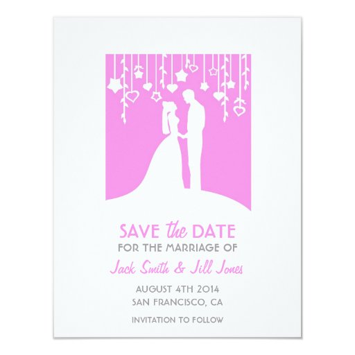 Ahorre la fecha - las siluetas rosadas de novia y invitación 10,8 x 13,9 cm
