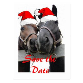 Ahorre la fecha/los caballos del navidad tarjeta postal