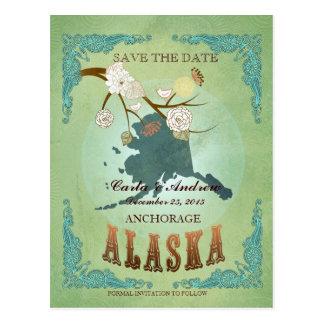 Ahorre la fecha - mapa de Alaska con los pájaros Postal