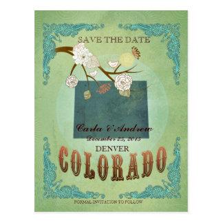 Ahorre la fecha - mapa de Colorado con los pájaros Postal