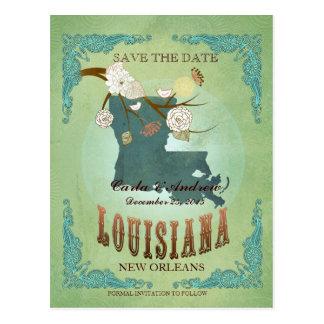 Ahorre la fecha - mapa de Luisiana con los pájaros Postal