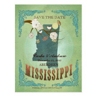 Ahorre la fecha - mapa de Mississippi con los Postal