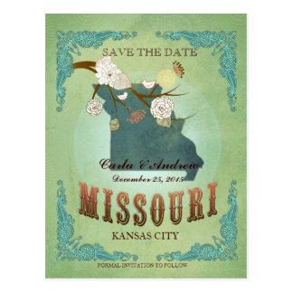 Ahorre la fecha - mapa de Missouri con los pájaros Postal