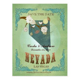 Ahorre la fecha - mapa de Nevada con los pájaros p Tarjetas Postales