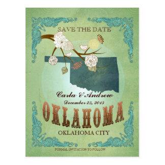 Ahorre la fecha - mapa de Oklahoma con los pájaros Postal