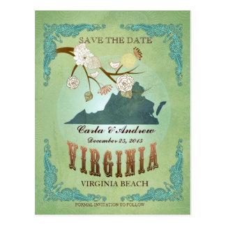 Ahorre la fecha - mapa de Virginia con los pájaros Postal