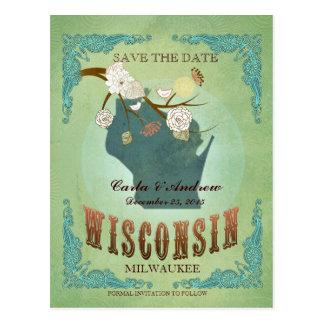 Ahorre la fecha - mapa de Wisconsin con los Postal