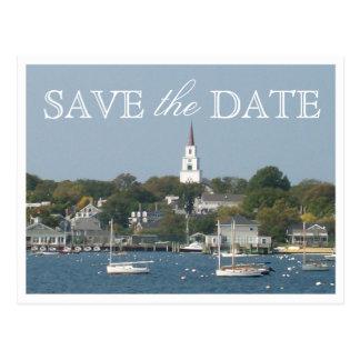 Ahorre la fecha Nantucket que casa el puerto Tarjeta Postal