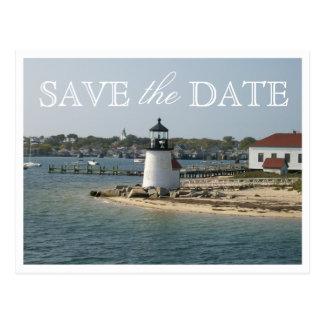 Ahorre la fecha Nantucket que casa la luz del punt Tarjeta Postal