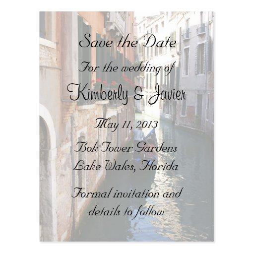 Ahorre la fecha para el tema veneciano postal