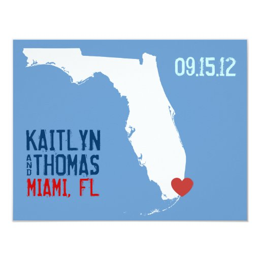 """Ahorre la fecha - personalizable - la Florida Invitación 4.25"""" X 5.5"""""""