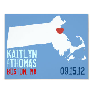 "Ahorre la fecha - personalizable - Massachusetts Invitación 4.25"" X 5.5"""