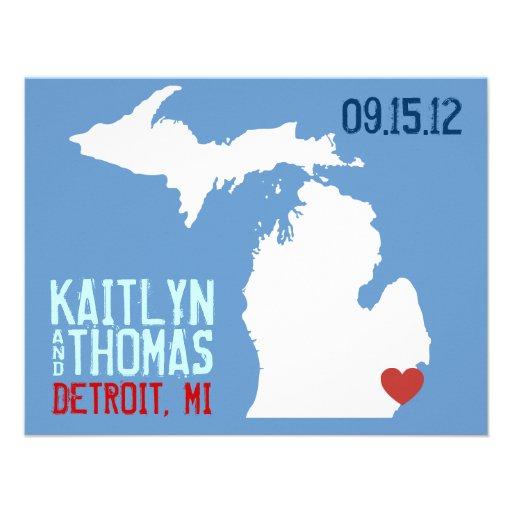Ahorre la fecha - personalizable - Michigan Invitacion Personal