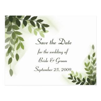 Ahorre la fecha - postal de las hojas del verde de