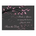 Ahorre la fecha - postal floral rosada de las rama