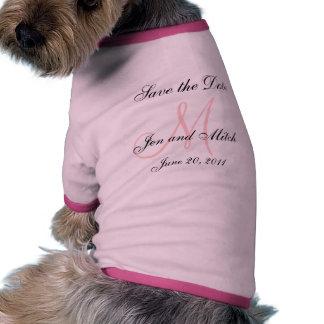 Ahorre la fecha que casa la camisa rosada del perr camiseta con mangas para perro