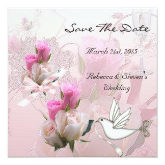 """Ahorre la fecha que casa la paloma rosada de las invitación 5.25"""" x 5.25"""""""